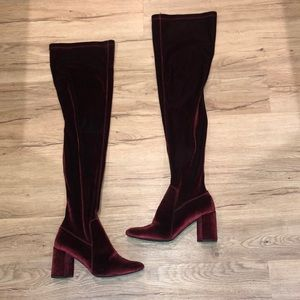 Jeffrey Campbell Ruby Red Velour thigh boots Sz 9